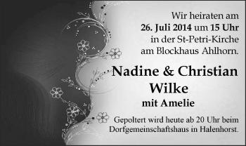 Hochzeitsanzeige von Nadine Wike von Nordwest-Zeitung