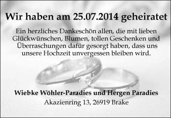 Hochzeitsanzeige von Wiebke Wöhler-Paradies von Nordwest-Zeitung
