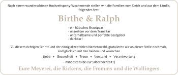 Hochzeitsanzeige von Birthe Wallinger von Nordwest-Zeitung