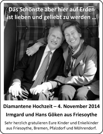 Hochzeitsanzeige von Irmgard  Göken von Nordwest-Zeitung