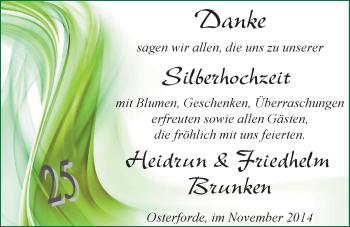 Hochzeitsanzeige von Heidrun Brunken von Nordwest-Zeitung