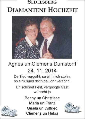 Hochzeitsanzeige von Agnes Dumstorff von Nordwest-Zeitung
