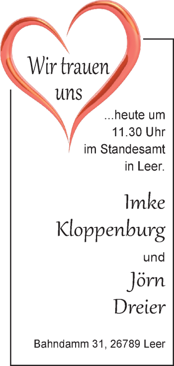 Hochzeitsanzeige von Imke Kloppenburg von Nordwest-Zeitung