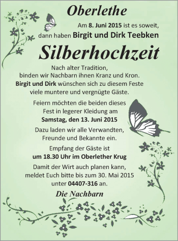 Hochzeitsanzeige von Birgit Teebken von Nordwest-Zeitung