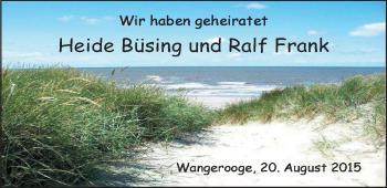 Hochzeitsanzeige von Heide Büsing von Nordwest-Zeitung