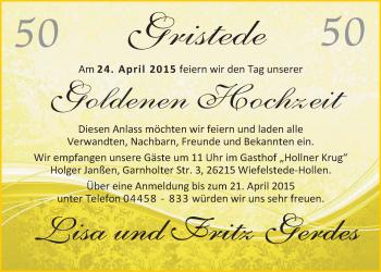 Hochzeitsanzeige von Lisa Gerdes von Nordwest-Zeitung