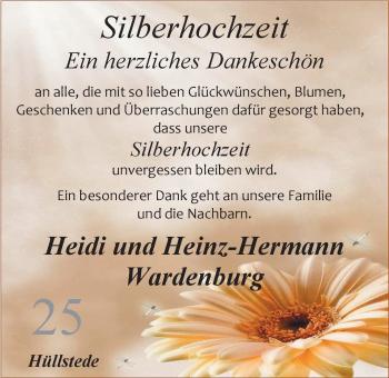 Hochzeitsanzeige von Heidi Wardenburg von Nordwest-Zeitung
