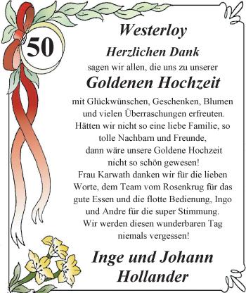 Hochzeitsanzeige von Hollander Inge von Nordwest-Zeitung