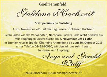Hochzeitsanzeige von Gerold Wulff von Nordwest-Zeitung