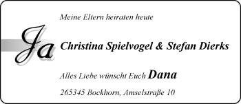 Hochzeitsanzeige von Christina Spielvogel von Nordwest-Zeitung