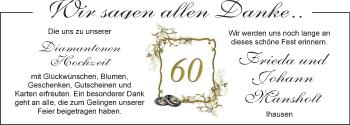 Hochzeitsanzeige von Frieda Mansholt von Nordwest-Zeitung