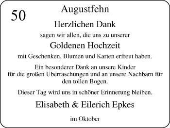 Hochzeitsanzeige von Elisabeth Epkes von Nordwest-Zeitung