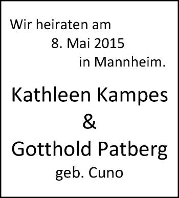 Hochzeitsanzeige von Kathleen Kampes von Nordwest-Zeitung
