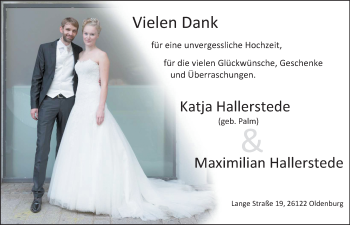 Hochzeitsanzeige von Katja Hallerstede von Nordwest-Zeitung