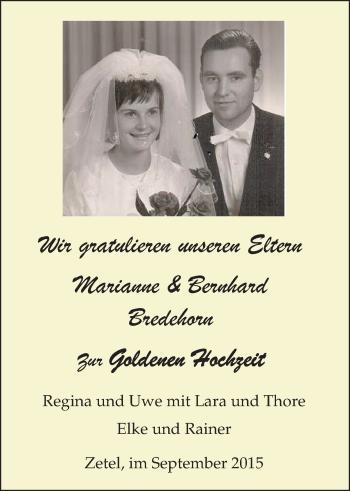 Hochzeitsanzeige von Marianne Bredehorn von Nordwest-Zeitung