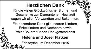Hochzeitsanzeige von Helena  Flatken von Nordwest-Zeitung