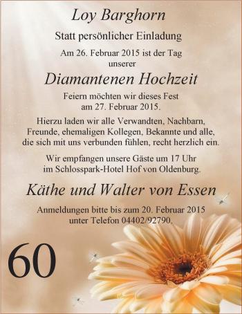 Hochzeitsanzeige von Käthe von Essen von Nordwest-Zeitung