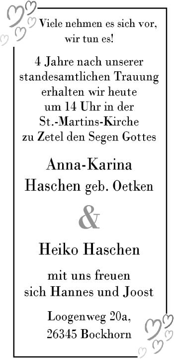 Hochzeitsanzeige von Anna-Karina Haschen von Nordwest-Zeitung