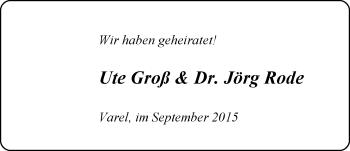 Hochzeitsanzeige von Ute Groß von Nordwest-Zeitung