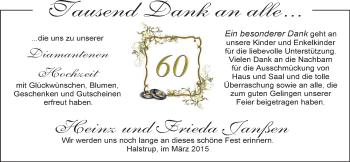 Hochzeitsanzeige von Frieda Janßen von Nordwest-Zeitung