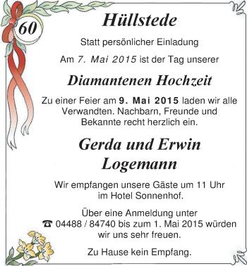Hochzeitsanzeige von Gerda Logemann von Nordwest-Zeitung