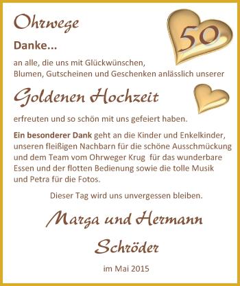 Hochzeitsanzeige von Marga Schröder von Nordwest-Zeitung