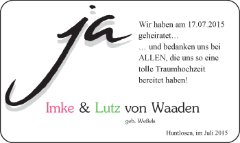 Hochzeitsanzeige von Imke von Waaden von Nordwest-Zeitung