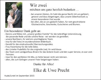 Hochzeitsanzeige von Elke Precht von Nordwest-Zeitung