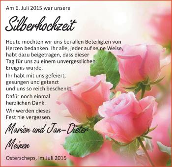 Hochzeitsanzeige von Marion Menen von Nordwest-Zeitung