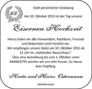 Hochzeitsanzeige von Herta Ostermann von Nordwest-Zeitung