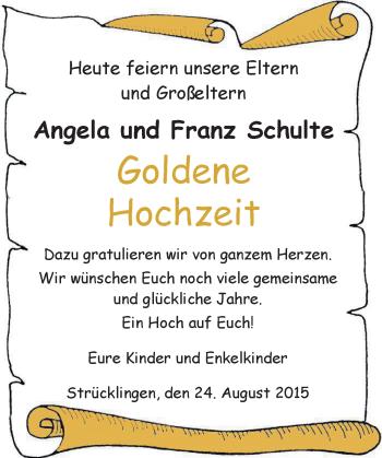 Hochzeitsanzeige von Angela Schulte von Nordwest-Zeitung