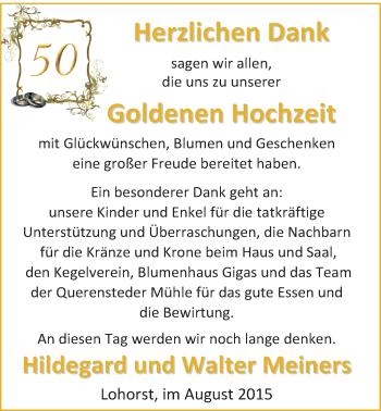 Hochzeitsanzeige von Hildegard Meiners von Nordwest-Zeitung