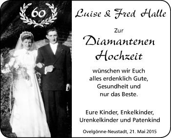 Hochzeitsanzeige von Luise Halle von Nordwest-Zeitung