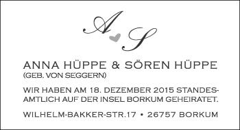 Hochzeitsanzeige von Anna Hüppe von Nordwest-Zeitung