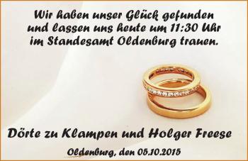 Hochzeitsanzeige von Dörte zu Klampen von Nordwest-Zeitung