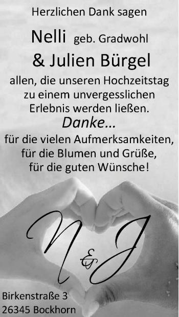 Hochzeitsanzeige von Nelli Bürgel von Nordwest-Zeitung
