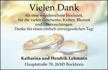 Hochzeitsanzeige von Katharina Lehmann von Nordwest-Zeitung