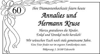 Hochzeitsanzeige von Annalies Kruse von Nordwest-Zeitung