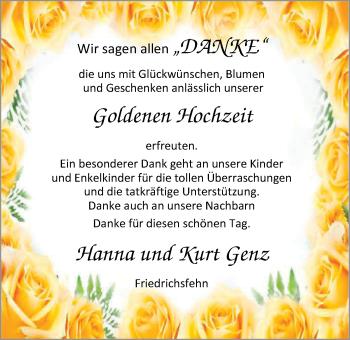 Hochzeitsanzeige von Hanna Genz von Nordwest-Zeitung