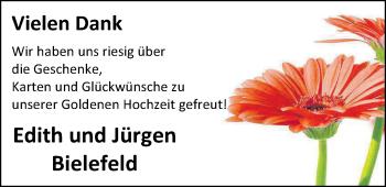 Hochzeitsanzeige von Edith Bielefeld von Nordwest-Zeitung