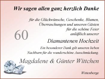 Hochzeitsanzeige von Magdalene Wittchen von Nordwest-Zeitung