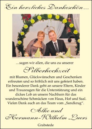 Hochzeitsanzeige von Alke Luers von Nordwest-Zeitung