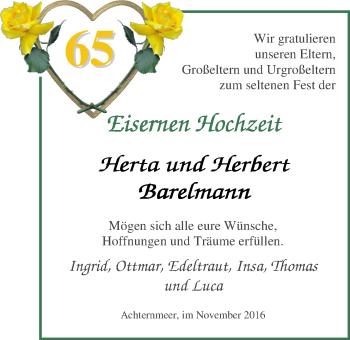 Hochzeitsanzeige von Herta Barelmann von Nordwest-Zeitung