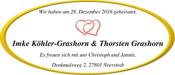 Hochzeitsanzeige von Imke Köhler-Grashorn von Nordwest-Zeitung