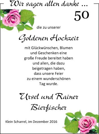 Hochzeitsanzeige von Ursel Bierfisch von Nordwest-Zeitung