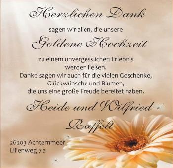 Hochzeitsanzeige von Heide Raffelt von Nordwest-Zeitung