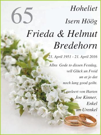 Hochzeitsanzeige von Frieda Bredehorn von Nordwest-Zeitung
