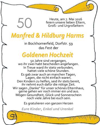 Hochzeitsanzeige von Manfred Harms von Nordwest-Zeitung