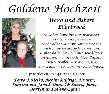 Hochzeitsanzeige von Wera Ellerbrock von Nordwest-Zeitung