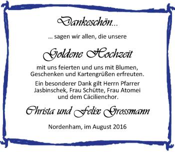 Hochzeitsanzeige von Felix Grossmann von Nordwest-Zeitung